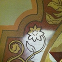 Detail of John Alven's embellishment of medallion for 1952 renovation. This detail is shown BEFORE touchup.