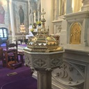 1915 brass baptismal font top restored in June, 2016.